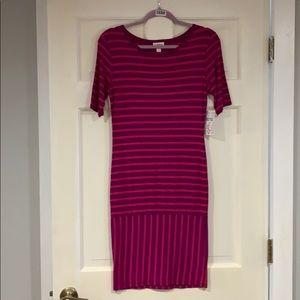 LuLaRoe purple and pink striped Julia dress S NWT